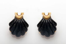 Antique Scallop Shell CARVED ONYX 14k Yellow Gold Leverback Earrings