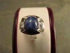 Deep Blue Star Sapphire 14k Solid White Gold  7.33 Carat Stone Retro Design Ring