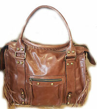 Borsa a spalla vera pelle da donna colore marrone cuoio tracolla bag leathear 8