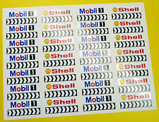 SLOT CAR SCALEXTRIC 1/32nd Barrier stickers decals Shell Mobil chevrons x56!