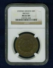 MEXICO ESTADOS UNIDOS 1935 20 CENTAVOS COIN CERTIFIED UNCIRCULATED NGC MS63-BN