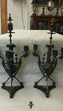 "ANTIQUE pair 19"" bronze and slate classical style candlesticks as found"