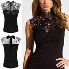 Sexy Damen Ärmelloses Spitzen-Top Shirt verfügbar in Schwarz Blusen-T-Shirt Neu