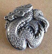 Vintage Dragon Pewter Bolo Slide Siskiyou Buckle Co Missing Tie Asian Motif 1987