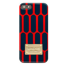 Authentic MICHAEL KORS iPhone 5 Case, Tech Monogram Embossed Navy/Red