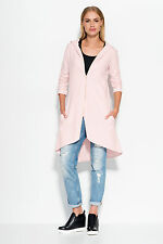 Ladies Casual Hoody Asymmetric Blouse Long Sleeve Zip Up Tunic Jacket FA522