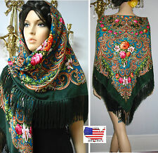 "Russian Ukrainian Shawl Floral w/Fringes 55""/140cm Green & Turquoise Wool #102-4"