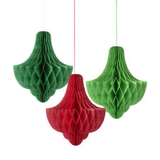 3 x Botanical Christmas Honeycombs Baubles Green Red Ceiling Decorations