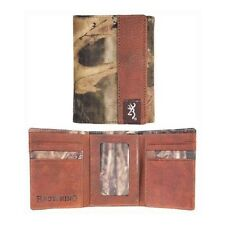 BROWNING & MOSSY OAK INFINITY CAMO LEATHER TRIMMED TRIFOLD BILLFOLD - WALLET