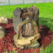 """Rustic Cave Water Fountain w/LED Lights - 21"""" H - indoor outdoor electric"""