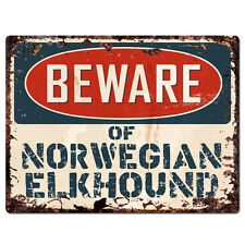 Ppdg0110 Beware of Norwegian Elkhound Plate Rustic Tin Chic Sign Decor Gift