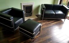 Black Leather Replica Le Corbusier Sofa, Chair and Footstool Excellent Condition