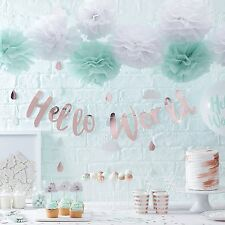HELLO WORLD BABY SHOWER SCRIPT BUNTING BANNER UNISEX NEUTRAL HANGING DECORATIONS