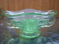Art Deco Green Sowerby Glass Elephant Bowl & Flower Frog ~ Posy Vase c1930s/40s