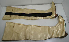 "VTG 29"" Custom Crotch Thigh High Gold black Boots 60s 1970s Leather wood 9.5 1/2"