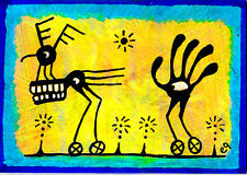 pursuit of the absurd e9Art ACEO Outsider Art Brut Silhouette Surrealism Paintin