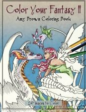 Color Your Fantasy 2 Adult Colouring Book Magical Dragons Fairies Mermaids Goth