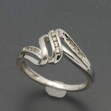 Sterling Silver Diamond Crossover Twist Ring Size 7