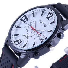 WHITE HUGE DIAL CLASSIC MEN BOY QUARTZ WRIST WATCH LUXURY BLACK RUBBER &RED LINE