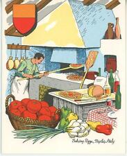 VINTAGE COOK CHEF BAKING PIZZA NAPLES ITALY BRICK STONE OVEN RECIPE CARD PRINT