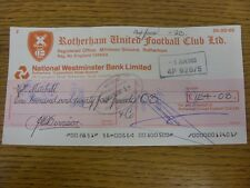 03/06/1983 Rotherham United: Official Club Cheque - payable to Bobby Mitchell. F
