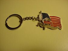 "AMERICAN EAGLE AND FLAG""PROUD TO BE AN AMERICAN"" LOGO KEY CHAIN KEYS NEW"