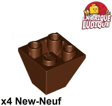 Lego - 4x slope inverted pente inversée 45 2x2 convex marron/red brown 3676 NEUF