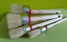 4 CHALK PAINT and WAX  pure bristle ROUND PAINT  BRUSHES ^ 50mm 40mm 30mm 20mm
