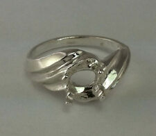 8x6mm Oval Side-Set Swirl Sterling Silver Pre-Notched Ring Size 7