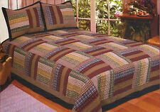 SIX BARS LODGE Full Queen QUILT SET : RED BROWN PLAID PATCH CABIN COMFORTER