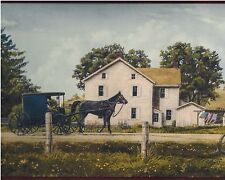 Amish Farm - White Barn - Buggy & Horse - 60 feet ONLY $30 Wallpaper Border A031