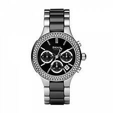 *NEW* LADIES DKNY NY8180 CHAMBER SILVER BLACK CERAMIC STRAP WATCH -WARRANTY