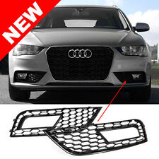 2013-2016 AUDI A4 B8.5 RS4 STYLE FRONT BUMPER FOG LIGHT GRILLES - GLOSS BLACK