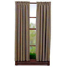 New Primitive Country Farmhouse BLACK & TAN CHECK SCALLOPED CURTAIN PANELS 84""