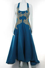 Marchesa Notte Blue Gilded Royal Teal Gown Size 8 New 10298043