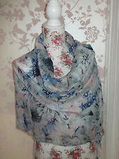 PRETTY PINK FLORAL & THISTLE PRINT LADIES FASHION SCARF WRAP SHAWL PASHMINA NEW