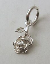 GENUINE SOLID 925 STERLING SILVER SMALL ROSE FLOWER Charm/Pendant