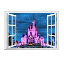 3D Princess Castle Star Window View Wall Decals Stickers Kids Decor Removable #