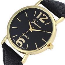 Geneva Stylish Unisex Watch Women Men Faux Leather Analog Quartz Wrist Watch HOT
