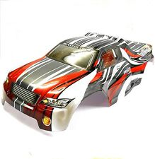 08706 1/8 Escala Rc Nitro Monster Truck Body Shell cubrir Corte Rojo Gris