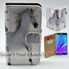 Wallet Phone Case Flip Cover for Samsung Galaxy Note5 - Two White Horses Print
