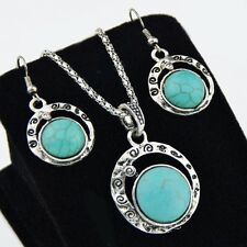 Tibetan Style Turquoise Round Necklace Earrings Jewerly SETS XL290