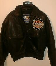 MICKEY MOUSE MOTOR RALLY RACING TEAM med. 100% BLACK leather bomber jacket men's
