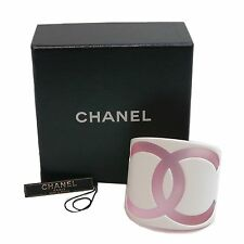 Authentic CHANEL Bangle Bracelet Coco Mark White Jelly/Plastic #3687