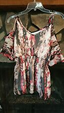 Women's Blouse Size L Black Tan Coral/Red PrettyTie Shoulder Dressy Classy Cute