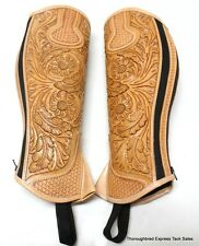 D.A. Brand Fully Tooled Light Oil Leather Half Chaps Size Medium Horse Tack