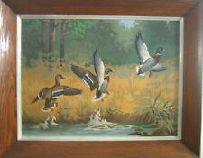 Vintage Paint By Number In The Marsh Mallards Ducks Flight Craft Master Framed