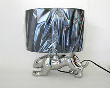 NEW art deco style silver panther table lamp black oval shade