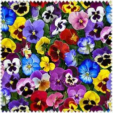 Lovely Pansies from Elizabeth's Studio Cotton Quilt Fabric 475 Multi By the Yard