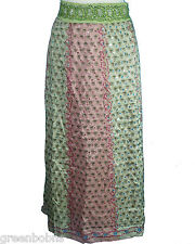 New Silhouettes Woman Green/ Rose Print Ombre Sequined Silk Skirt  Size 12W